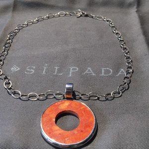"Silpada Sterling Silver Sponge Coral ""0"" Necklace"